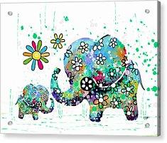Blooming Elephants Acrylic Print by Karin Taylor