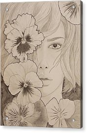 Blooming Girl Pansy Refined Acrylic Print