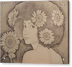 Blooming Girl Sunflower Refined Acrylic Print