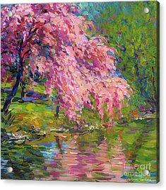 Blossoming Trees Landscape  Acrylic Print by Svetlana Novikova