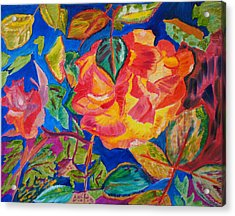 Acrylic Print featuring the painting Blossoms Aglow by Meryl Goudey