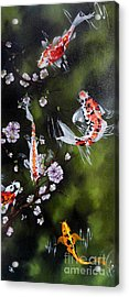 Blossoms And Koi Acrylic Print by Carol Avants