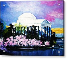 Blossoms At The Jefferson Memorial Acrylic Print by Al Brown