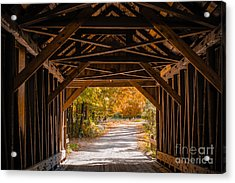 Blow-me-down Covered Bridge Cornish New Hampshire Acrylic Print by Edward Fielding