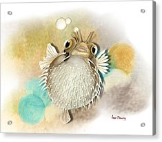 Blowfish Acrylic Print by Anne Beverley-Stamps