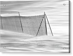 Blowing Snow At Snow Fence  Acrylic Print by Dan Friend