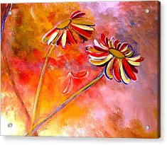 Acrylic Print featuring the painting Blown Backward Fall Floral by Lisa Kaiser