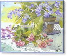 Blu Cape Primroses Acrylic Print by Julia Rowntree