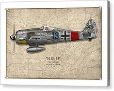 Blue 13 Focke-wulf Fw 190 - Map Background Acrylic Print by Craig Tinder