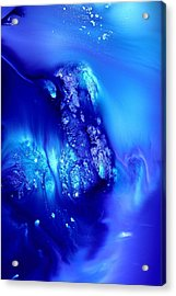 Blue Abstract Art Dancing Crystals By Kredart Acrylic Print