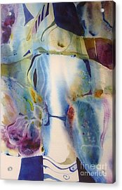 Blue Abstract Acrylic Print by Donna Acheson-Juillet