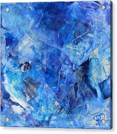 Blue Abstract Square Painting Blue Shades Modern Wall Art By Chakramoon Acrylic Print by Belinda Capol