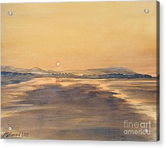 Acrylic Print featuring the painting Blue Anchor Sunset by Martin Howard