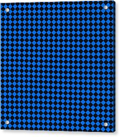 Blue And Black Checkered Pattern Cloth Background Acrylic Print