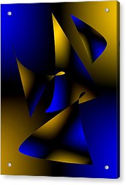 Blue And Brown Abstract Design Acrylic Print by Mario Perez