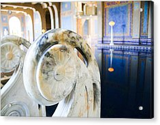 Blue And Gold Marble In A Turkish-style Pool Acrylic Print by Laura Palmer
