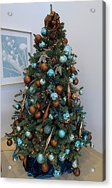 Acrylic Print featuring the photograph Blue And Gold Xmas Tree by Richard Reeve