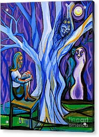Blue And Purple Girl With Tree And Owl Acrylic Print by Genevieve Esson
