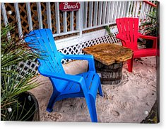 Acrylic Print featuring the digital art Blue And Red Chairs by Michael Thomas