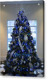 Blue And Silver Tree Acrylic Print