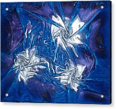 Blue And Silver Twin 1 Acrylic Print by Angela Stout