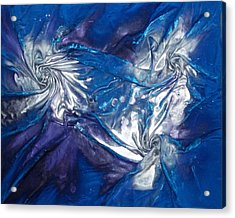 Blue And Silver Twin 2 Acrylic Print by Angela Stout