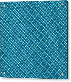 Blue And Teal Diagonal Plaid Pattern Textile Background Acrylic Print by Keith Webber Jr