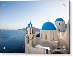 Blue And White Churches In Santorini Greece Acrylic Print