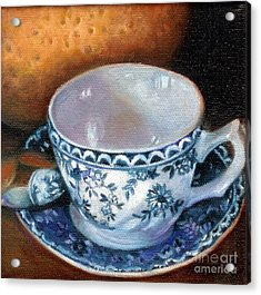 Blue And White Teacup With Spoon Acrylic Print by Marlene Book