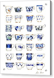 Blue And White Teacups Collage Acrylic Print by Laura Row Studio