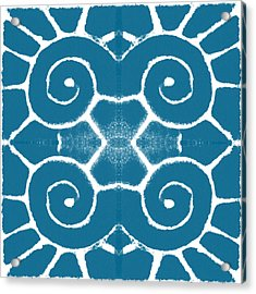 Blue And White Wave Tile- Abstract Art Acrylic Print by Linda Woods