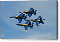 Acrylic Print featuring the photograph Blue Angels Diamond Formation Over Pensacola Beach by Jeff at JSJ Photography