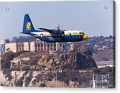 Blue Angels Fat Albert C130t Hercules Through San Francisco Alcatraz Island At Fleet Week 5d29571 Acrylic Print