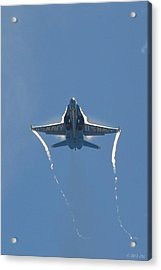 Blue Angels Ghost Appears Head-on Over Pensacola Beach Acrylic Print by Jeff at JSJ Photography
