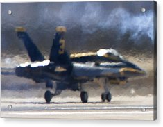 Blue Angels Number 3 On The Runway Acrylic Print
