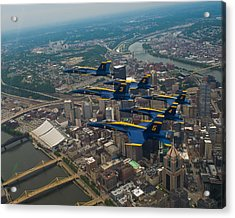 Blue Angels Over Pittsburg Acrylic Print by Specialist 2nd Class Kathryn E Macdonald