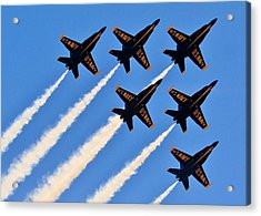 Blue Angels Overhead Acrylic Print by Benjamin Yeager