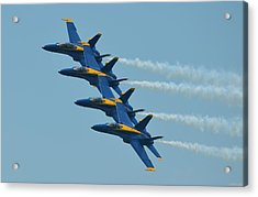Blue Angels Practice Echelon Formation Over Pensacola Beach Acrylic Print by Jeff at JSJ Photography