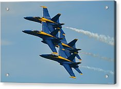 Acrylic Print featuring the photograph Blue Angels Practice Formation Over Pensacola Beach by Jeff at JSJ Photography