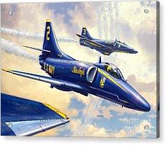 Blue Angels Skyhawk Acrylic Print by Stu Shepherd