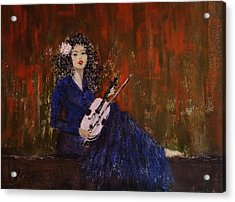 Acrylic Print featuring the painting Blue Ballad... by Cristina Mihailescu