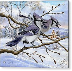 Blue Bandits Winter Afternoon Acrylic Print by Richard De Wolfe
