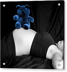 Blue Bear And Baby Belly Acrylic Print by Melissa Kimball