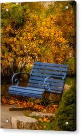 Blue Bench - Autumn - Deer Isle - Maine Acrylic Print