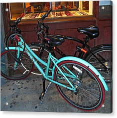 Acrylic Print featuring the photograph Blue Bianchi Bike by Joan Reese