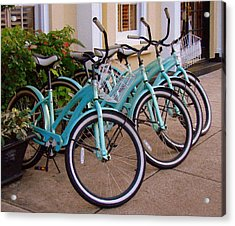 Acrylic Print featuring the photograph Blue Bikes by Rodney Lee Williams