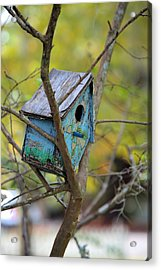 Acrylic Print featuring the photograph Blue Birdhouse by Gordon Elwell