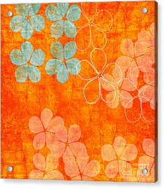 Blue Blossom On Orange Acrylic Print by Linda Woods
