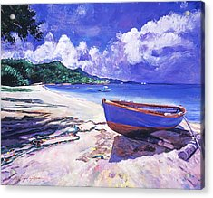 Blue Boat And Fishnets Acrylic Print by David Lloyd Glover