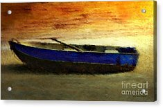 Blue Boat At Sunset Acrylic Print